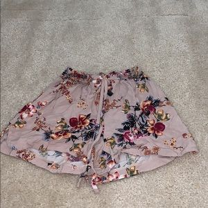 floral pink shorts